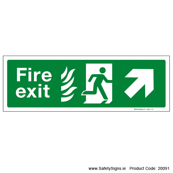 Fire Exit SG104 Arrow Up Right - 20091