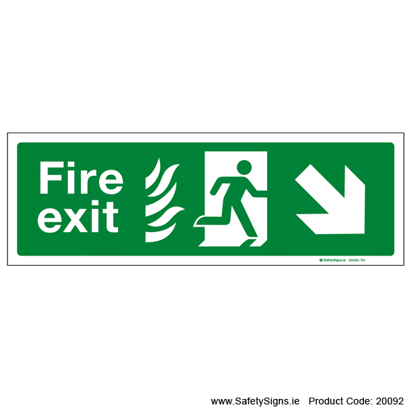 Fire Exit SG104 Arrow Down Right - 20092