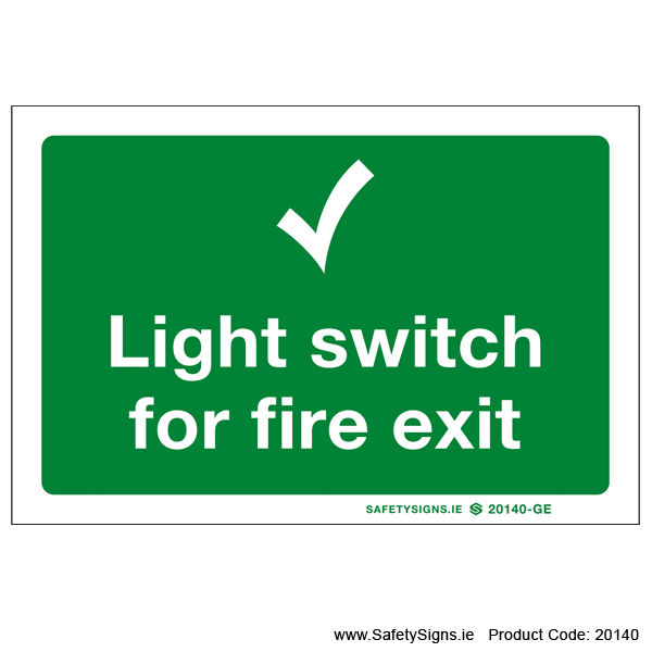 Light Switch for Fire Exit - 20140