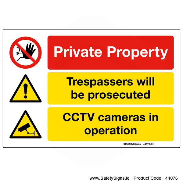 Warning to public private property trespassers will be prosecuted safety sign