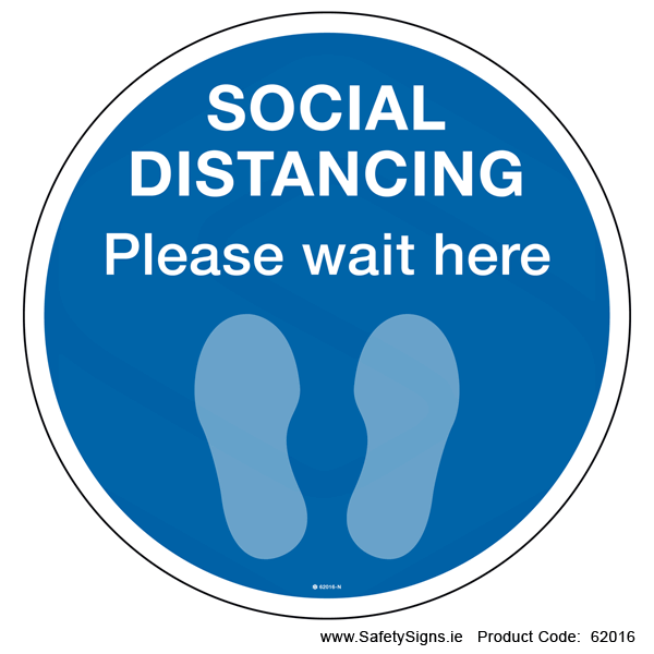 Please Wait Here - FloorSign (Circular) - 62016