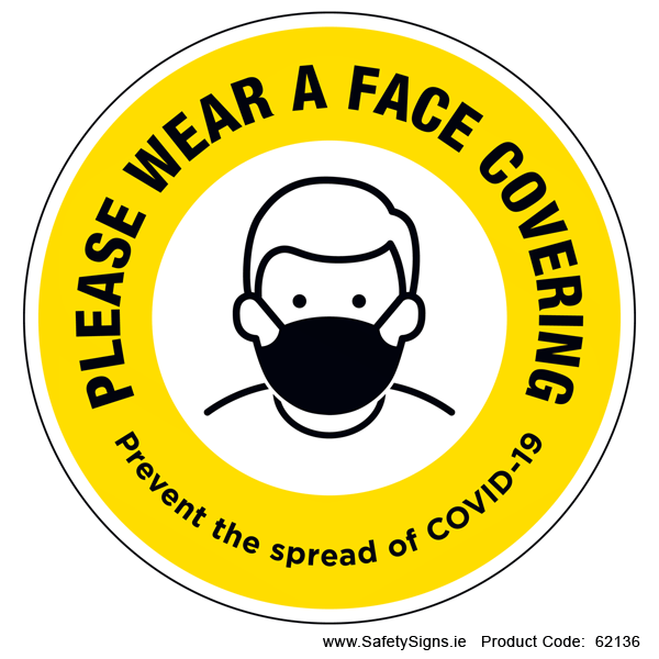 Please Wear a Face Covering (Circular) - 62136