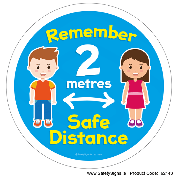2 Metres Safe Distance - Kids - (Circular) - 62143
