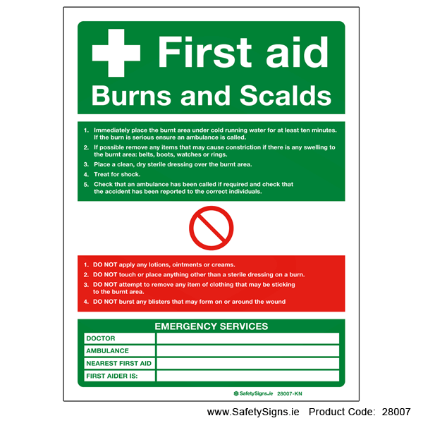 First Aid Burns and Scalds - 28007