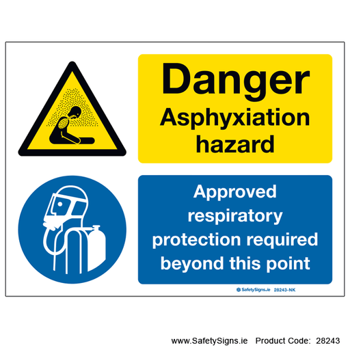 Danger Asbestos Dust Approved Respirator Must Be Worn Protective Clothing sign
