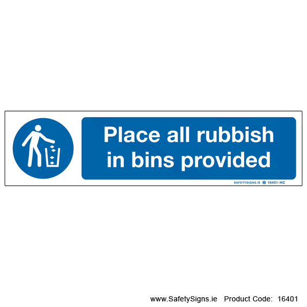 Place Rubbish in Bins - 16401