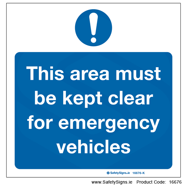 Area to be kept Clear for Emergency - 16676