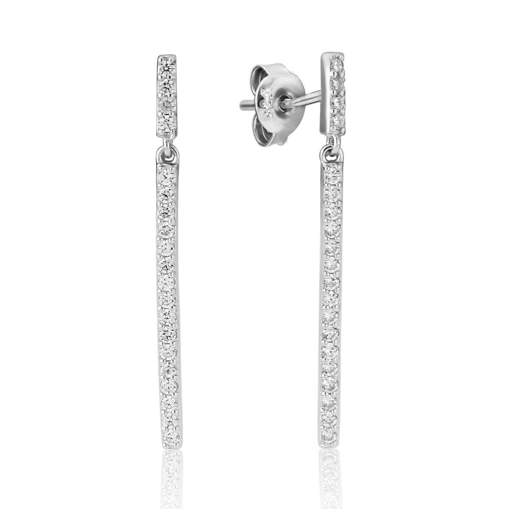 WATERFORD CRYSTAL WHITE CUBIC ZIRCONIA STRAIGHT LINE DROPS EARRINGS
