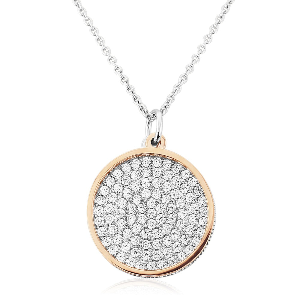 WATERFORD CRYSTAL ROSE WHITE OPEN CIRCLE PENDANT WITH MULTI CUBIC ZIRCONIA DISCS