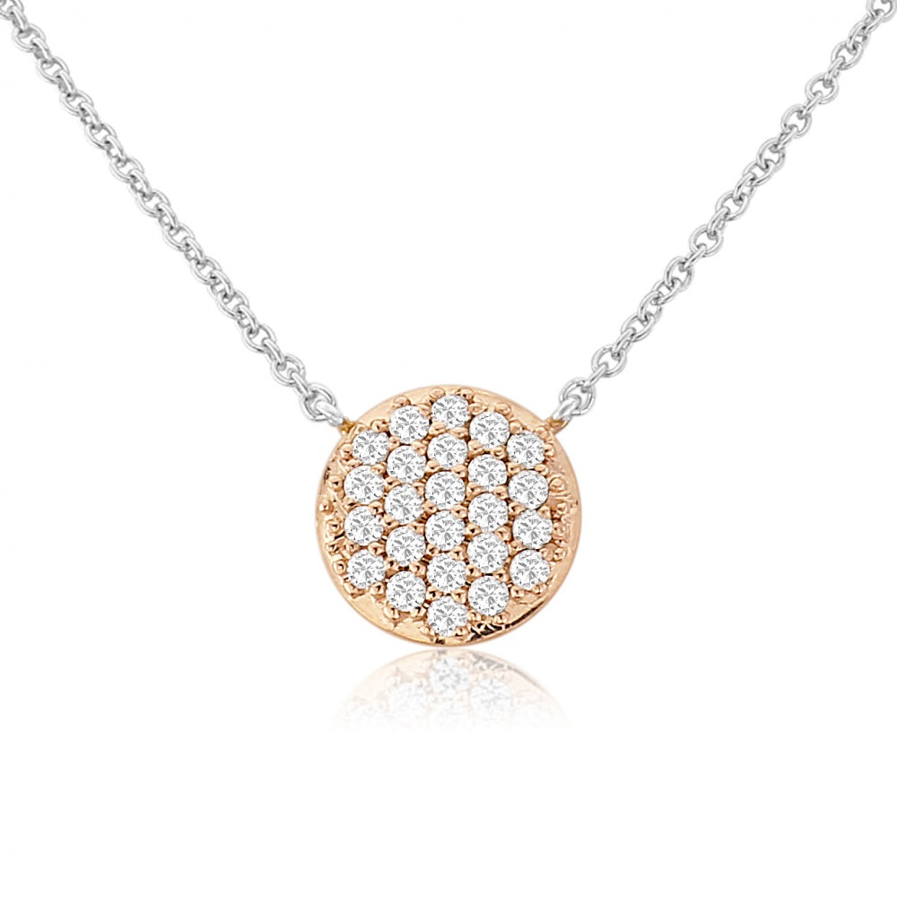 WATERFORD CRYSTAL SMALL ROSE CIRCLE PENDANT WITH MULTI CUBIC ZIRCONIA DISCS