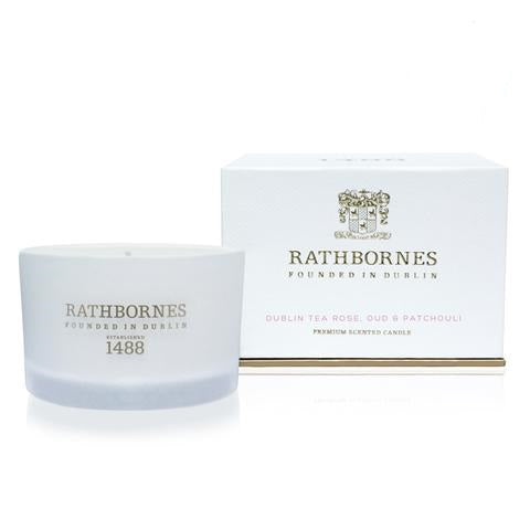 RATHBORNES - DUBLIN TEA ROSE, OUD & PATCHOULI SCENTED CANDLE