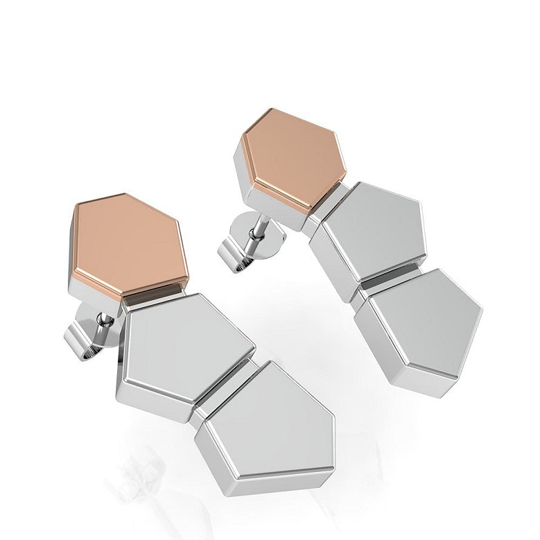 House Of Lor -  CARIC Stud Earrings in Sterling Silver and Irish Gold