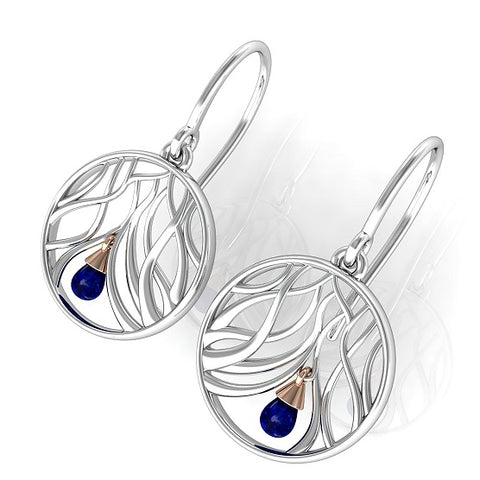 House Of Lor - WISHING TREE Drop Earrings in Sterling Silver and Irish Gold with a Corundum Sapphire