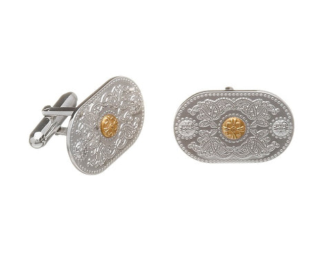 House Of Lor - ARDA (20mm) Sterling Silver Cuff Links with Rare Irish Gold Bosses