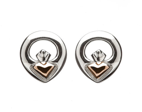 House Of Lor - CLADDAGH Stud Earrings in Sterling Silver & Rose gold