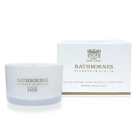 RATHBORNES - WHITE PEPPER, HONEYSUCKLE & VERTIVERT  SCENTED CANDLE
