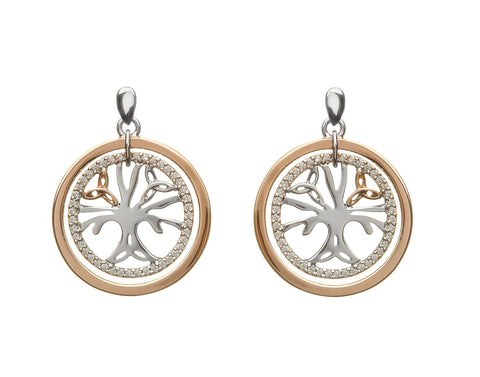 House Of Lor - TREE OF LIFE Cubic Zircona Rose Gold & Silver Earrings