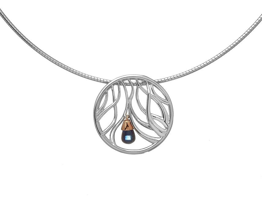 House Of Lor - WISHING TREE Pendant In Sterling Silver And Irish Gold With A Corundum Sapphire