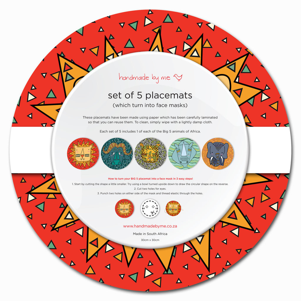 Big 5 Placemats - which turn into face masks (set of 5 - mixed)