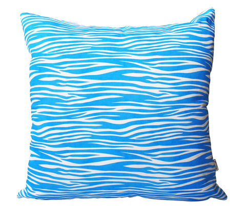 Blue Zebra Pattern Cushion Cover