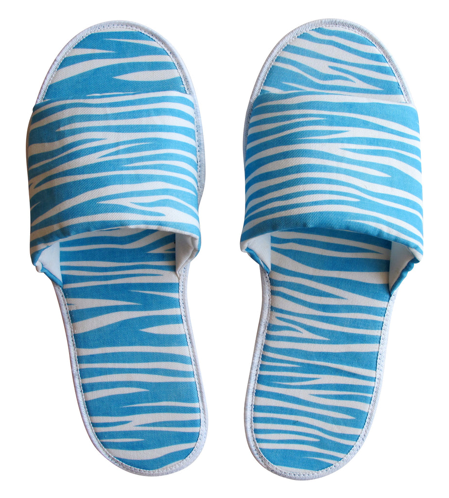 Blue Zebra Pattern Hotel Slippers - size 9/10