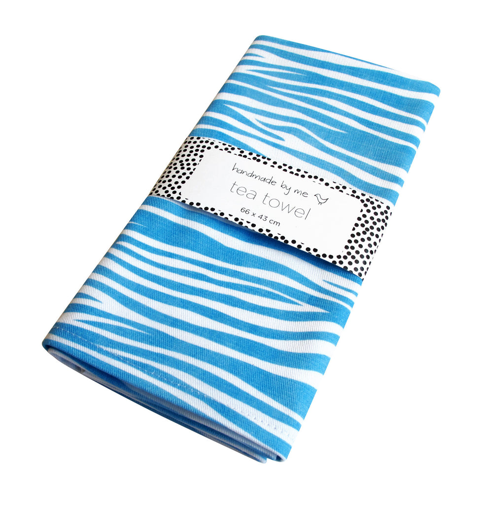 Blue Zebra Pattern Tea Towel
