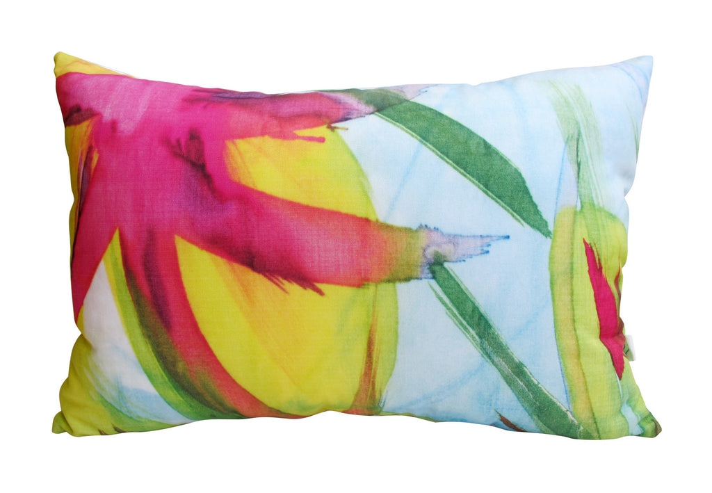 Feisty Floral Watercolour on Blue Cushion Cover (40x60cm)
