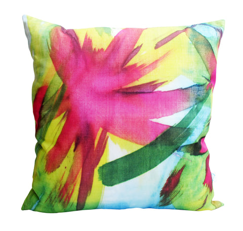 Feisty Floral Watercolour on Blue Cushion Cover (2 for 1 SALE)