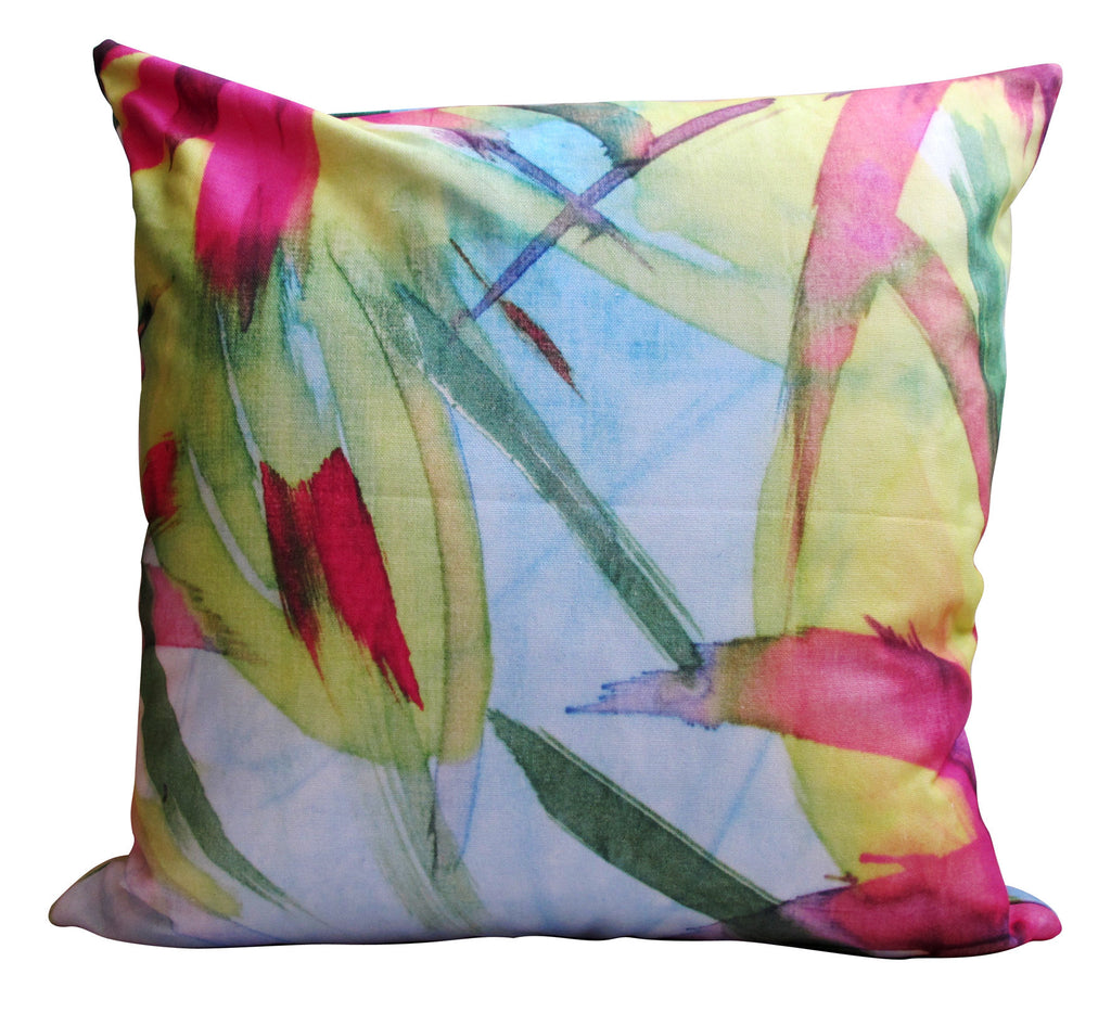 LUX Feisty Floral Watercolour on Blue Panama Cushion Cover