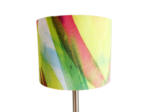 Feisty Floral Watercolour on blue small bedside/desk lampshade