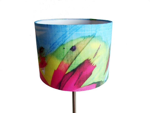 Feisty Floral Watercolour on blue medium bedside/desk/standing lampshade