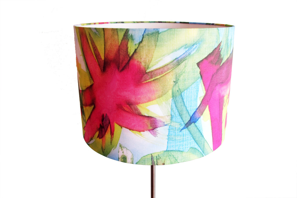 Feisty Floral Watercolour on blue Large standing lampshade
