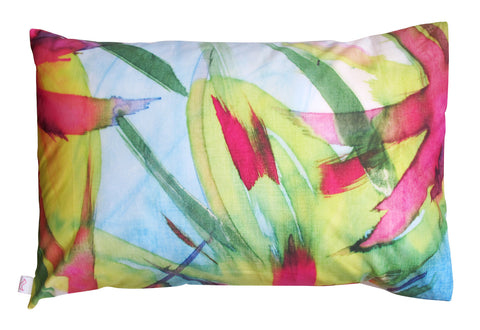 Feisty Floral Watercolour on Blue Pillowcase