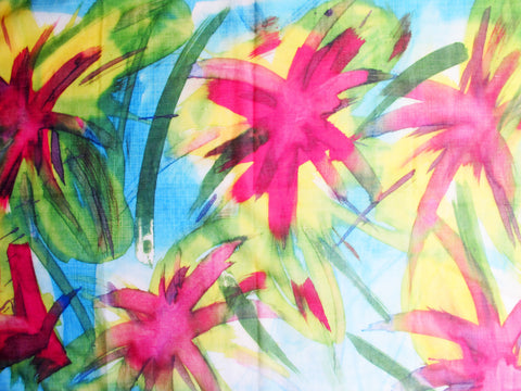 Feisty Floral Watercolour on Blue Scarf