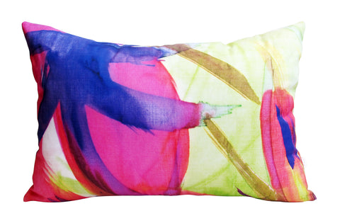Feisty Floral Watercolour on Green Cushion Cover (40x60cm)