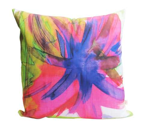 Feisty Floral Watercolour on Green Cushion Cover