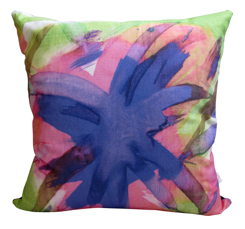 LUX Feisty Floral Watercolour on Green Panama Cushion Cover