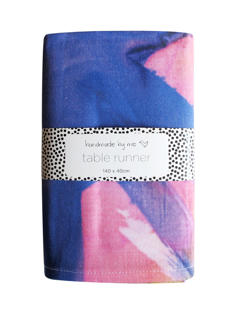 Feisty Floral Watercolour on Green Table Runner