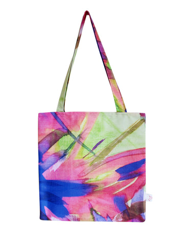 Feisty Floral Watercolour on Green Tote Bag