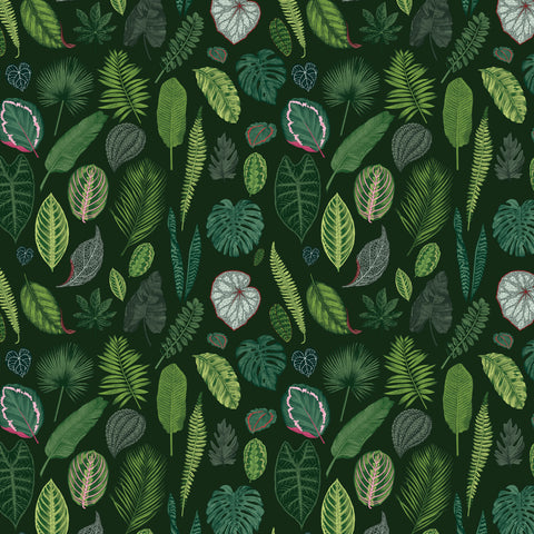 Foliage on Green Fabric