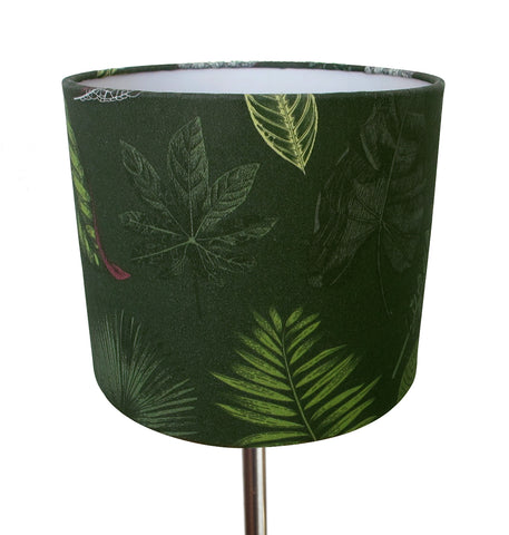 Foliage on Green small bedside/desk lampshade