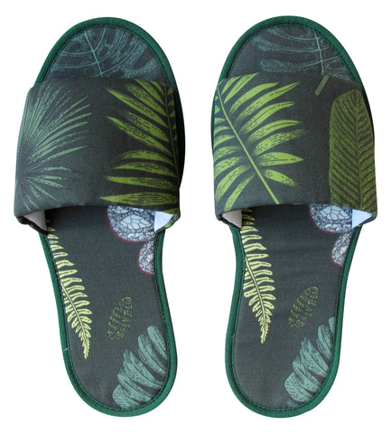 Foliage on Green Hotel Slippers