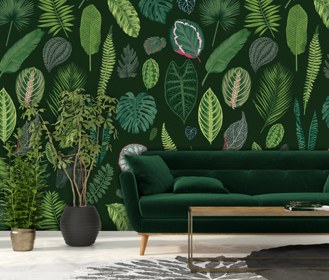Foliage on Green Wallpaper