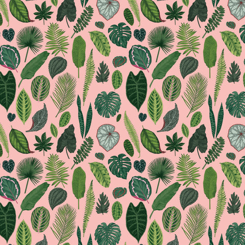 Foliage on Pink Fabric
