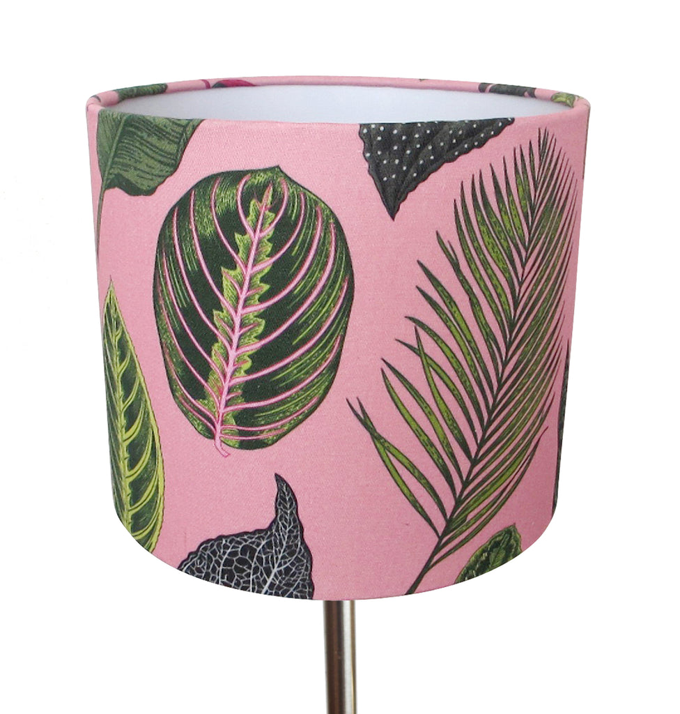 Foliage on Pink small bedside/desk lampshade