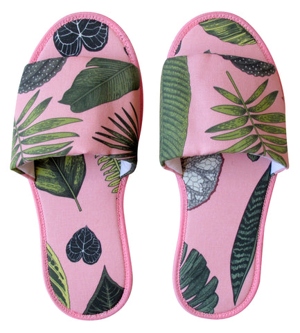 Foliage on Pink Hotel Slippers