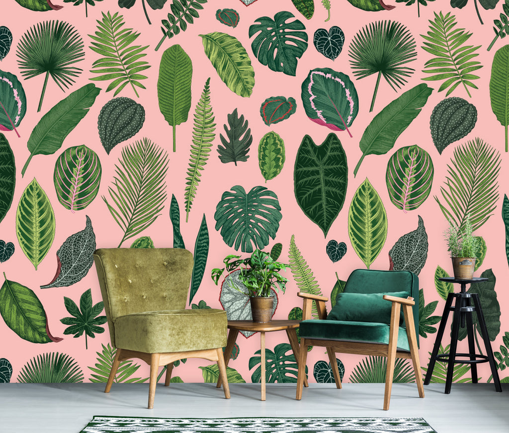 foliage on pink wallpaper – handmademe