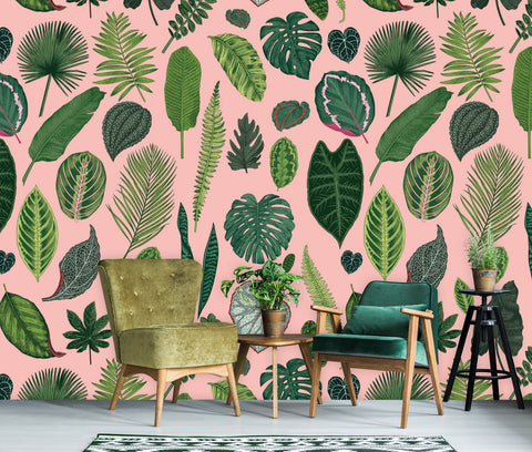 Foliage on Pink Wallpaper