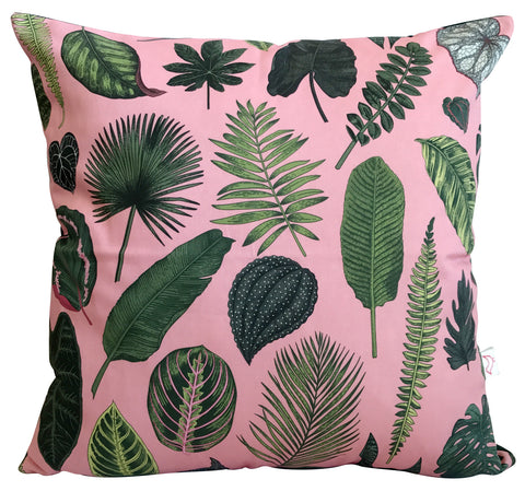 Foliage on Pink Cushion Cover