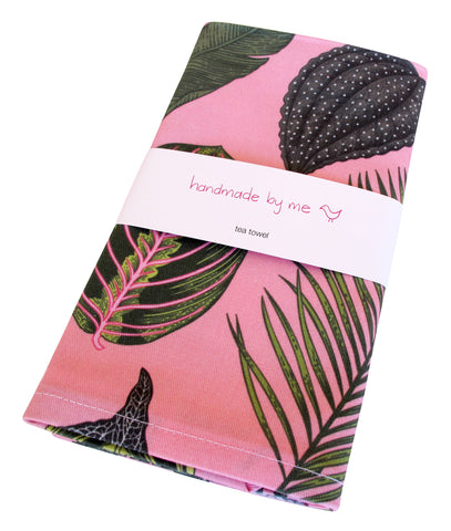 Foliage on Pink Tea Towel